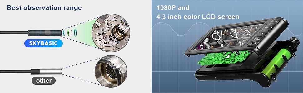 Endoscopio Industrial, Cámara de Inspección SKYBASIC 4.3 Pulgadas 1080p HD, Endoscopio de Cámara Impermeable Snake con 6 luces LED Ajustables, Cable ...