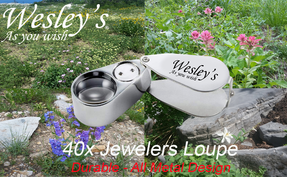 Wesley's 40X Jewelers Loupe - All Metal Magnifier