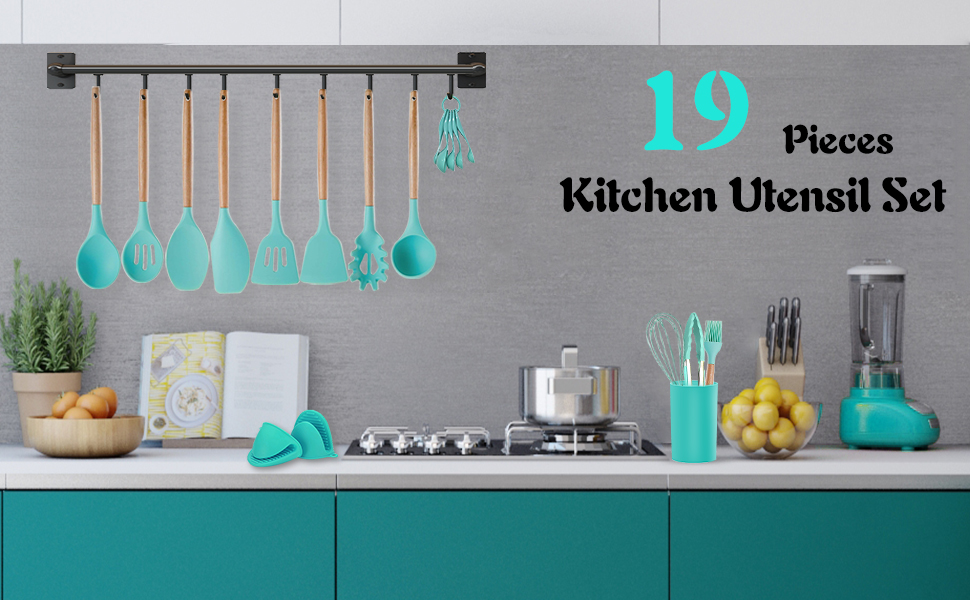 Silicone Cooking Utensils Set with Holder, Non-stick 464°F Heat Resistant BPA Free Non-toxic