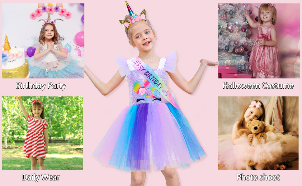 Girls Unicorn Tutu Dress for Birthday Party Halloween Photo Shoot