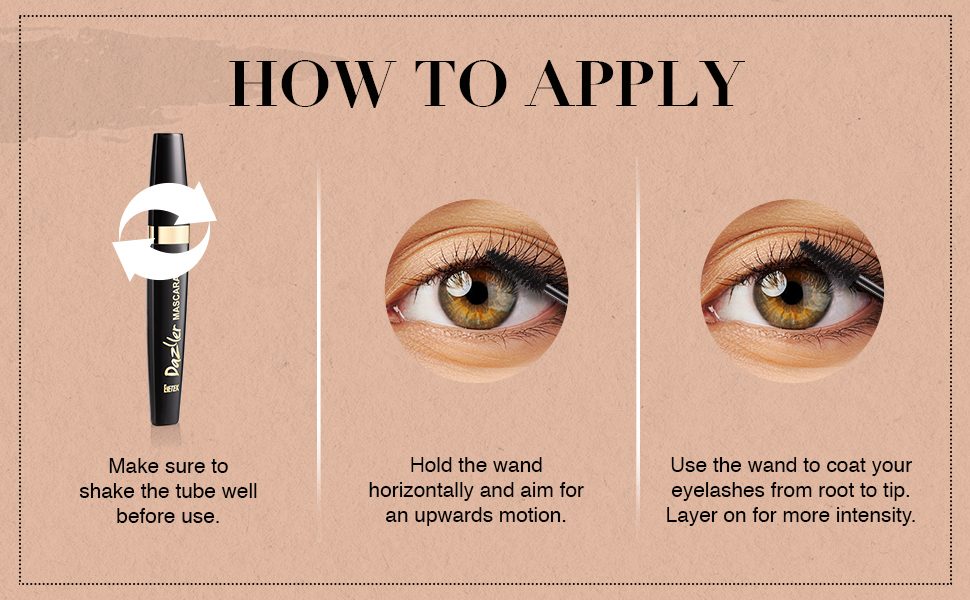 Dazller Mascara, How To Apply, Eyelash, Intensity, Mascara Shake