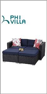phi villa 4 piece patio loveseat sofa