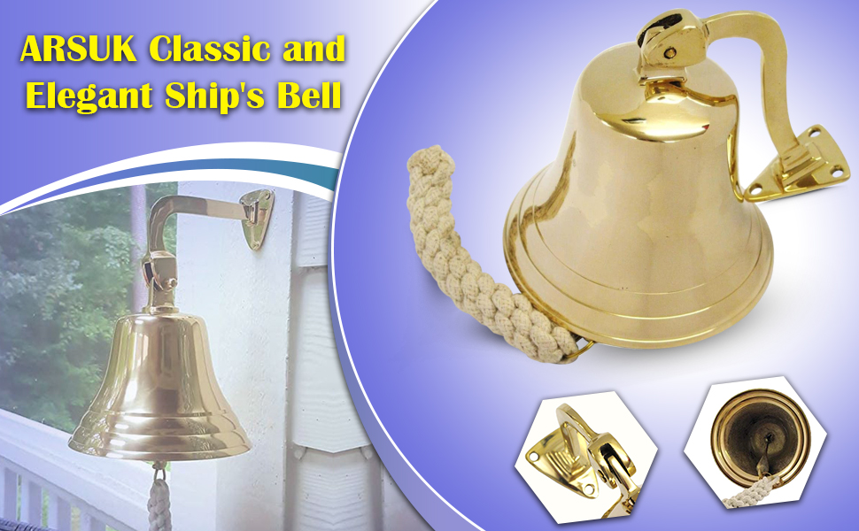 ARTISENIA 6 Solid Brass Ship Bell Wall Mountable Hanging with Bracket Ideal for Maritime Gift Nautical School Dinner Reception Home Decoration Indoor Outdoor Antique Bell