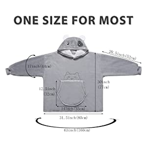 the size of cat hoodie blanket one size for most