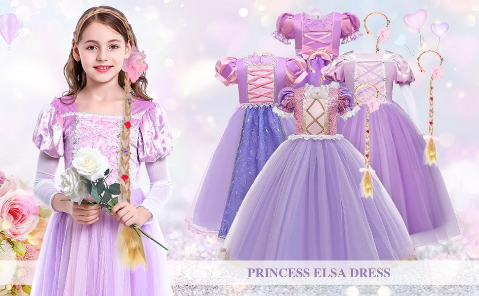 Girls Kids Rapunzel Tangled Princess Dress Sofia Costume Fancy Fairytale Gifts