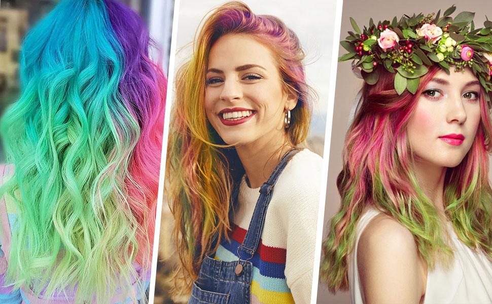 Kalolary Peine de Tiza Para el Pelo, 12pcs Lavables Tinte para Cabello, Color de pelo Temporal Hair Chalk Set para Niños Regalos Navidad Fiestas ...