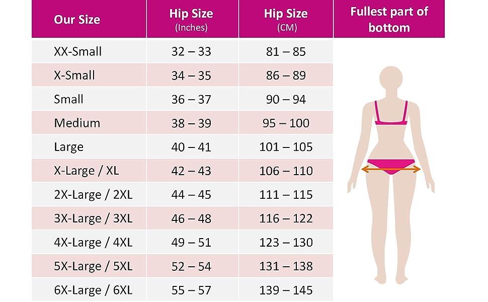 leakproof underwear size chart