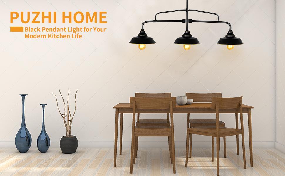 PUZHI HOME black pendant kitchen island light