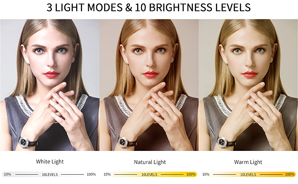 The ring light has 3 light modes and 11 brightness levels.