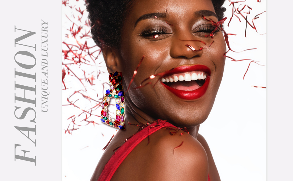 crystal rectangle drop dangle earrings for women girls fashoin show