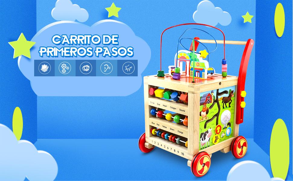 Andador Correpasillos Bebe 7 en 1 Carrito de Primeros Pasos, Andador de Bebé Interactivo Actividad Andadores Juguete Madera Juguetes Bebes Educativos ...