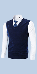 Yingqible Mens Casual Knitted V-Neck Slim Fit Argyle Cardigan Sweater Vest