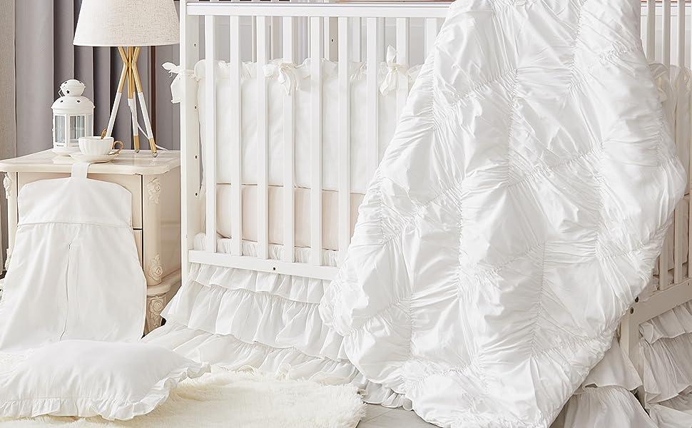 crib bedding sets for girl white