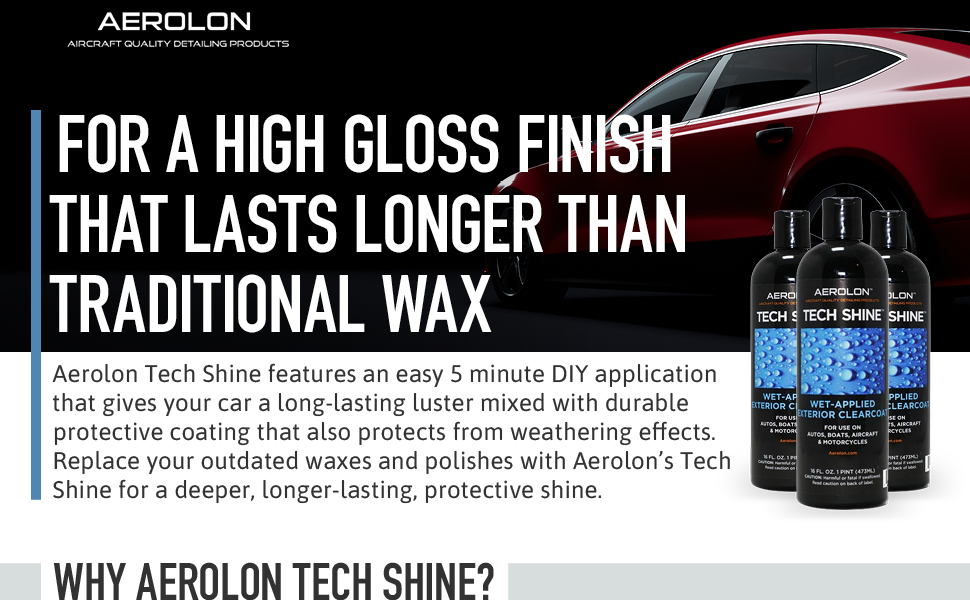 Amazon Com Aerolon Tech Shine 16 Ounce Fast Wet Applied Polymeric Car Wax Coating Top Coat Polish And Sealer For Car Bike Boat Auto Detailing Accessory For Hydrophobic Mirror Shine And Super Gloss Automotive