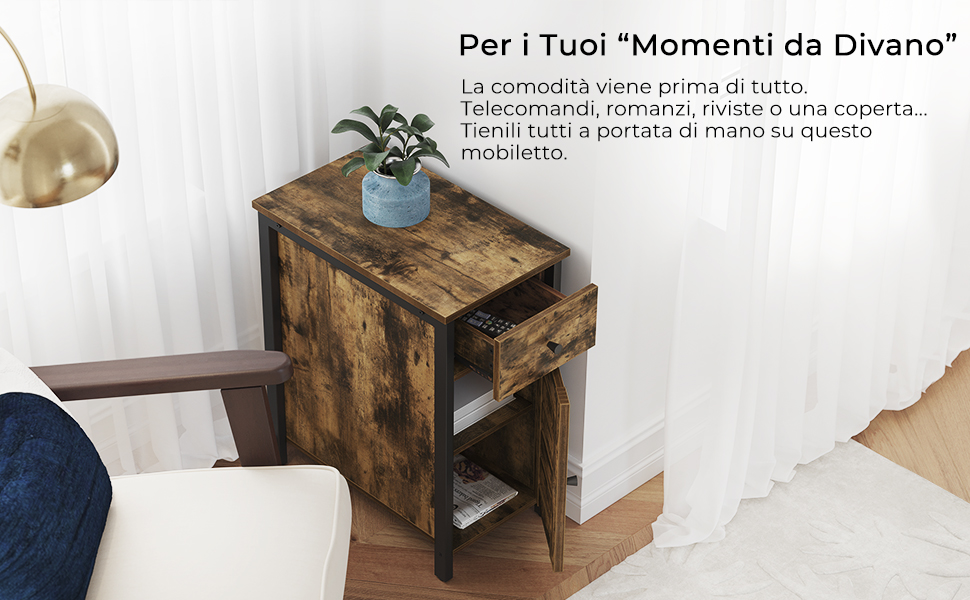 VASAGLE Tavolino Stretto Mobiletto con Ripiano Aperto e Scomparto Chiuso 35 x 50 x 55 cm Bianco LET121W01 Stile Scandinavo Comodino con Anta a Persiana
