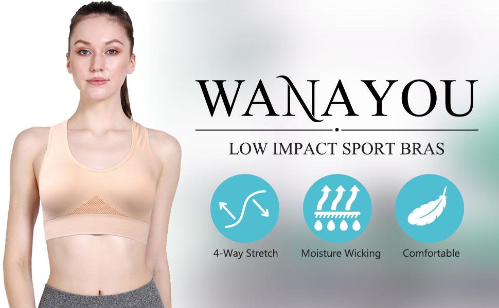 WANAYOU Racerback Sports Bra for Women Comfortable Sleep Bra Wirefree Seamless Pullover Running Yoga Bra 3 Pack