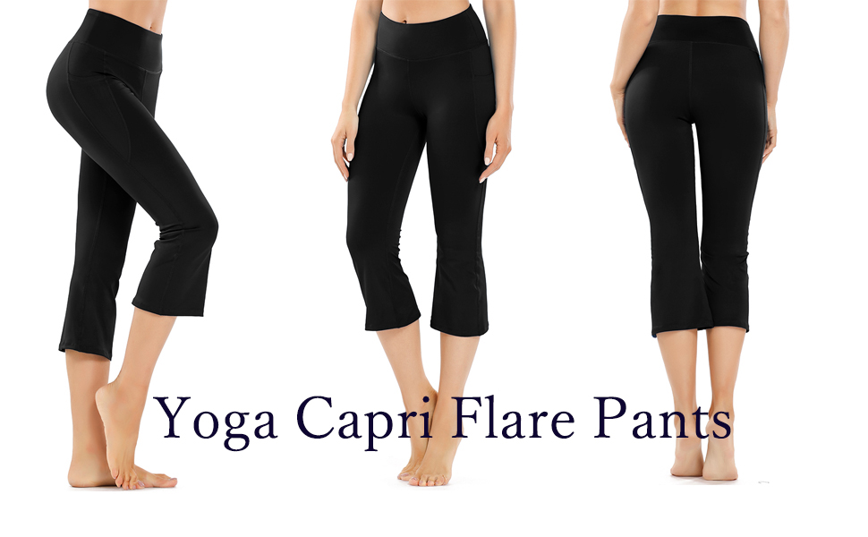 DEMOZU Womens 19 Inches Bootcut Yoga Capri Pants Lightweight Knit Cropped Workout Flare Lounge Pants with Pockets