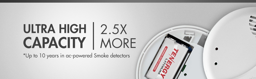 Ultra high capacity 2.5 times more capacity lasts up to 10 years in ac-powered smokey detectors