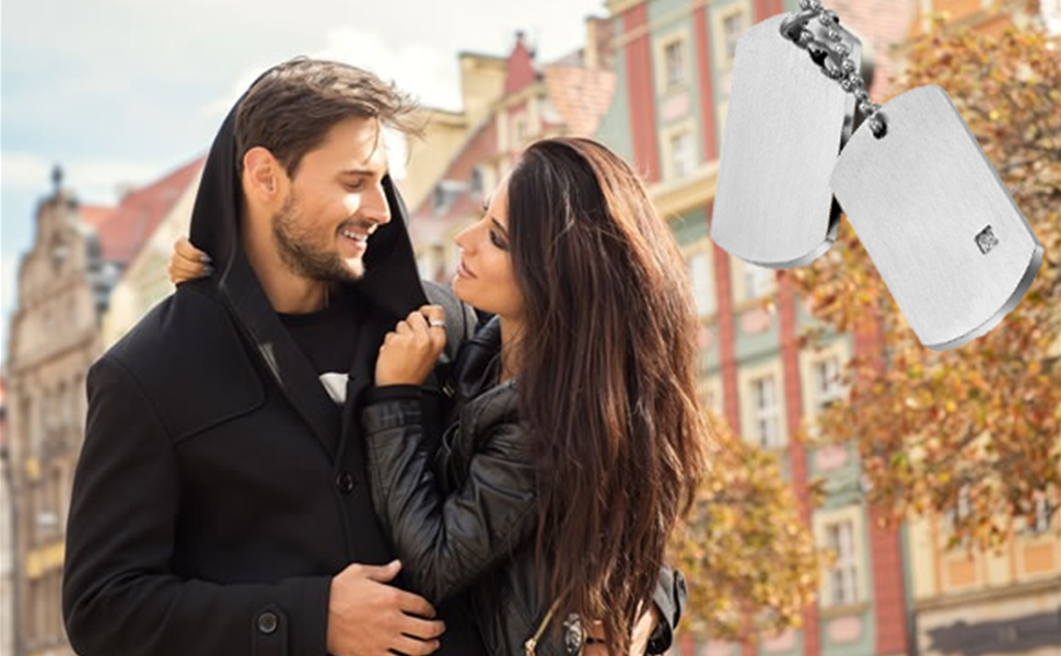 Cupimatch Collar para Hombre Dog Tag Acero Inoxidable Moda Collar Militar Regalo para Amor