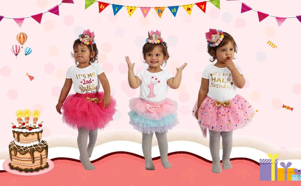 HOSUKKO Baby Girl Birthday Outfits Onesie /& Skirt /& Tights /& Crown /& Headband