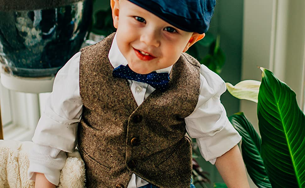 Born to Love Vest for Baby Toddler Kids Ring Bearer Pageboy Wedding Formal Herringbone Outfit