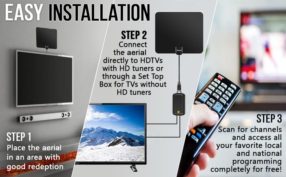 Tv Aerial Boyoye Indoor Tv Aerial For Digital Amazon Co Uk Electronics
