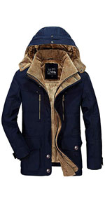 Men's Sherpa Lined Quilted Full Zip Thick Jacket with Removable Hood