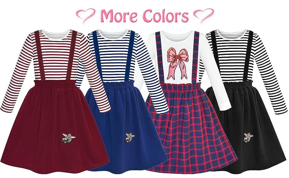 Sunny Fashion Vestito Bambina 2 Pezzi Set Maglietta Bretella Gonna Uniforme Scolastica 4-12 Anni