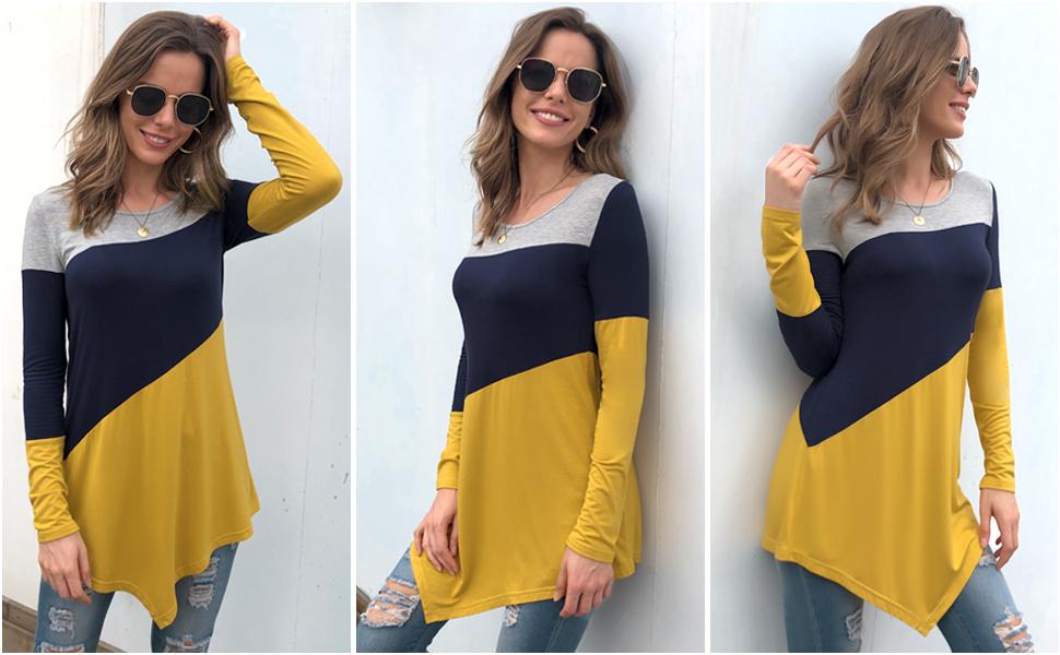 color block tunics for women