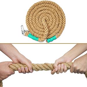 Aoneky Cuerda para Trepar de Yute - 30/40mm, 3-9M, Cuerda de Escalada con Mosquetón, Cuerda de Trepa para Crossfit Entrenamiento Gimnasio, Accesorios ...