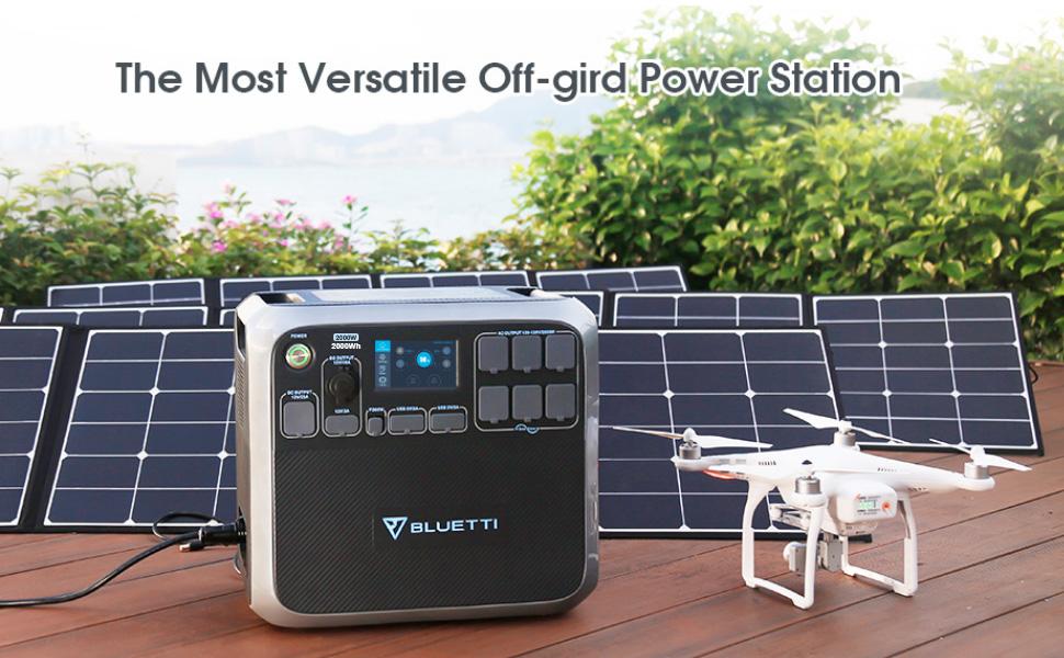 BLUETTI AC200 Portable Power Station 2000W inverter solar generator home backup battery outdoor