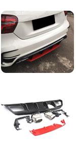 W176 CF Rear Lip Spoiler Diffuser with Tips, fits Mercedes Benz A Class A45 AMG A180 A200 Sport