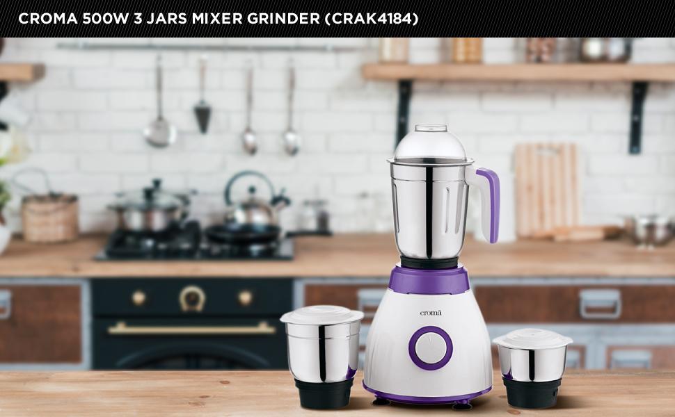 CROMA 500-Watt 3 Jars Mixer Grinder (CRAK4184, Purple)