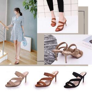 Hedea Women's Mule Sandals, Pin Heels, Open Toe, Beautiful Legs, Velour, 3.5 inches (9 cm) Heels