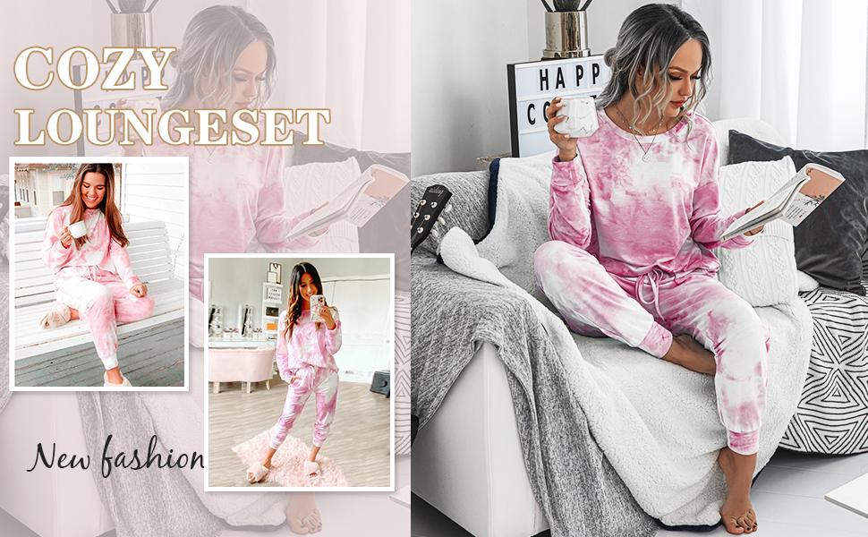 Tie Dye Lounge Sets Outfits Pajamas Fashion Loungewear Long Sleeve Pullover Tops Joggers Pants Set