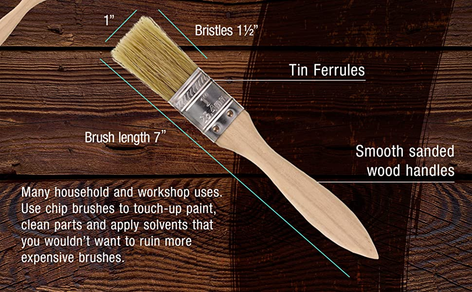 """36 Pack 1"""" Wide 100% pure white bristle paint Chip brushes"""