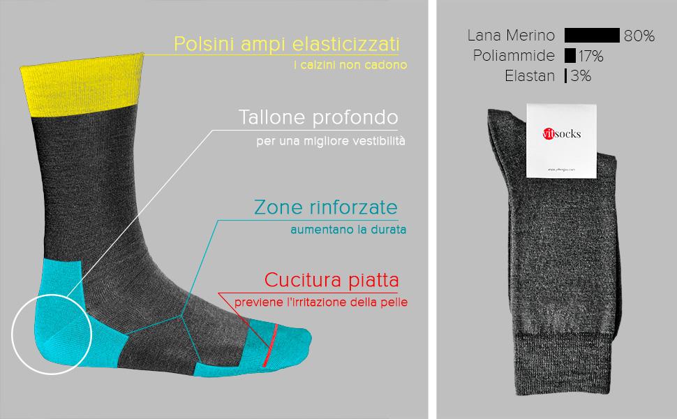 vitsocks Calzini MERINO Uomo 2 PAIA: Blu o Nero, a Righe Calze in LANA di Alta Qualit/à Inverno Autunno