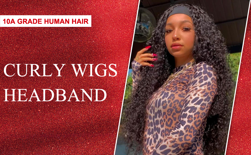Curly human hair headband wigs
