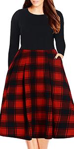 Nemidor Women's Long Sleeve Floral Print Vintage Style Plus Size Swing Casual Party Dress