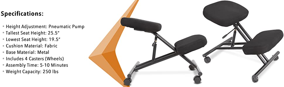 Stand Steady pneumatic kneeling chair height adjustable rolling kneeling stool ergonomic posture pro