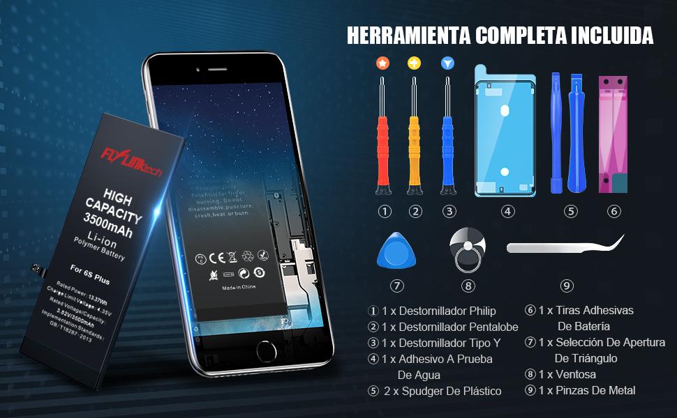 Batería para iPhone 6S Plus 3600mAH con 31% más de Capacidad Que la batería Origina, FLYLINKTECH Reemplazo de Alta Capacidad Batería para iPhone 6S Plus con Kits de Herramientas de reparación: Amazon.es:
