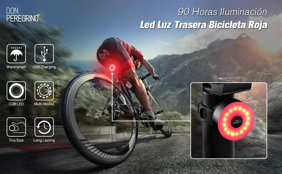 DONPEREGRINO M2 - Luz Trasera Bici Compacta hasta 90 Horas de ...