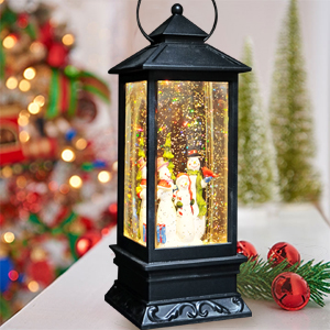 11 Inches Wondise Christmas Snowman Snow Globe Lantern Battery Operated with 6 Hour Timer Glitter and Water Swirling Snow Globe Warm Light Thanksgiving Christmas Decoration Gifts