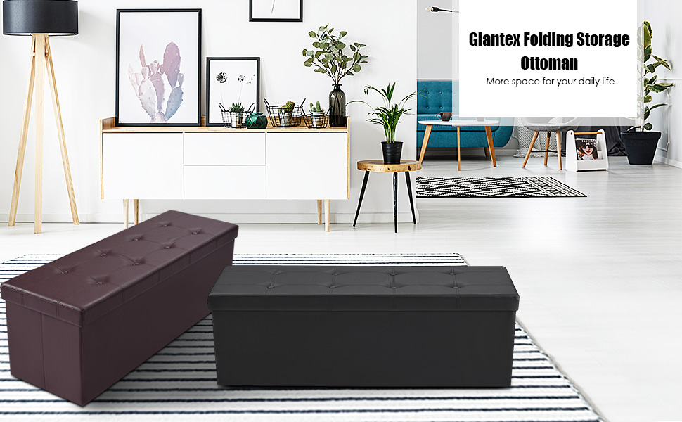 Tremendous Giantex 45 Folding Storage Ottoman Bench Tufted Faux Leather Coffee Table Foot Rest Stool Seat Padded Seat Storage Chest Black Inzonedesignstudio Interior Chair Design Inzonedesignstudiocom