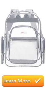 gray clear backpack see-thru bag school bags book bag student travel carry on stadium bag outdoor