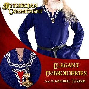 Mythrojan EMBROIDERED WOOLEN VIKING TUNIC Medieval Vikings Warrior LARP SCA Wool Knight