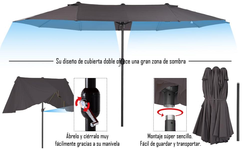 Outsunny Sombrilla Parasol Doble para Jardín Carpas Toldos de Terraza Tela de Poliéster Sombrilla Gigantede para Playa Protección Solar UV 4.6x2.7x2.4m Gris: Amazon.es: Jardín