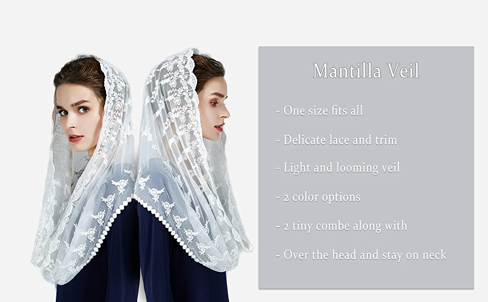 Veiled in Dignity Catholic mantilla for Mass St Monica long black tulle veil
