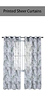 light green leaves and floral sheer curtains