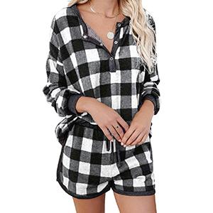 flannel pajama set women plaid pajama set